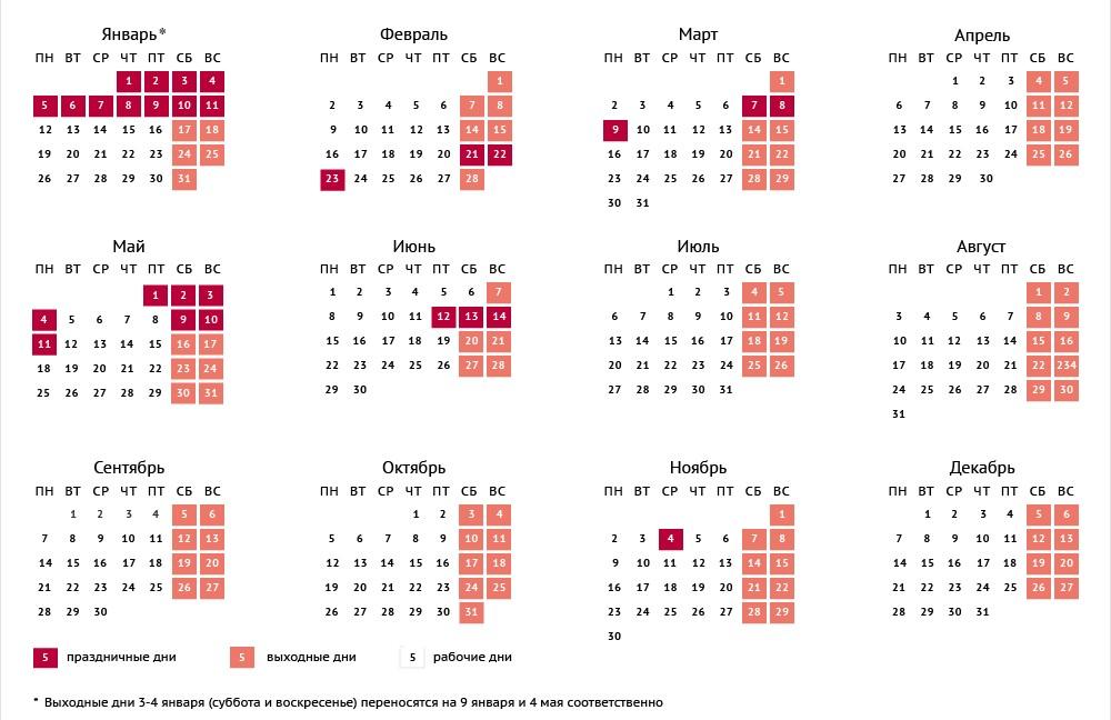Табельный календарь на 2017 год утвержденный