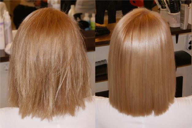Кератиновое выпрямление волос - фото до и после